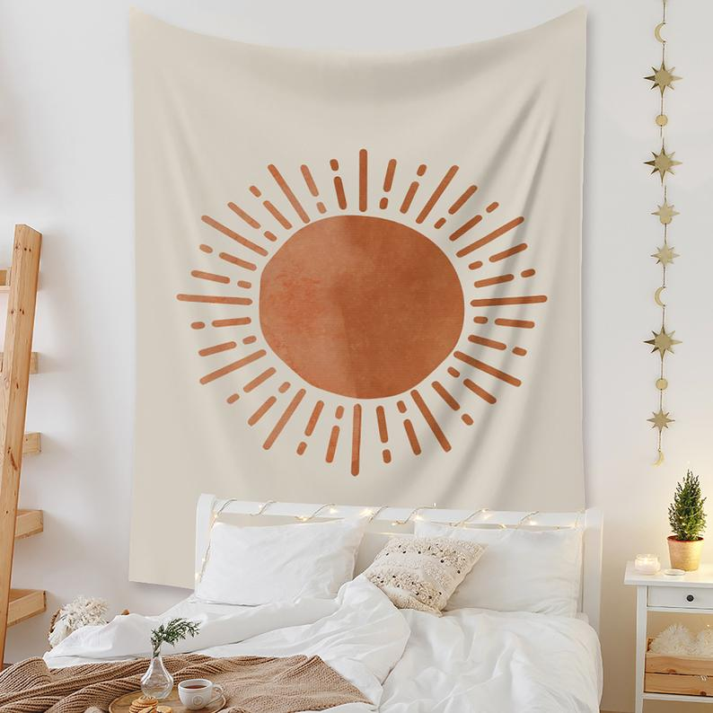 Bohemian Style Tapestries, Sun Tapestry, Wall Decoration Minimalist Tapestry Wall Hanging, Bedroom Bedside Background Wall Hanging Cloth