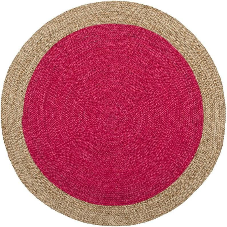 Indian Handwoven Round Jute Rug 5×5′