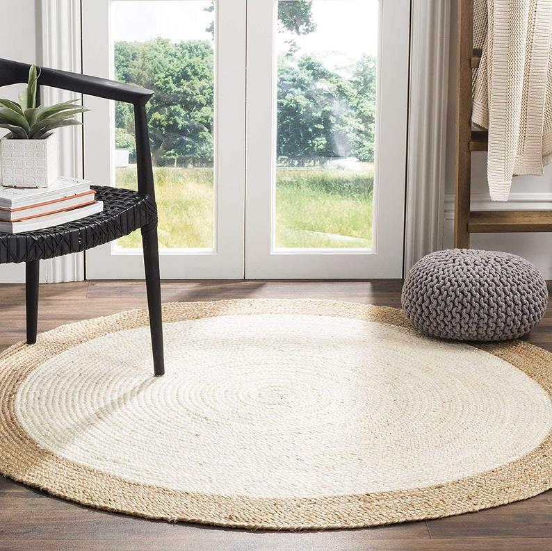 White Jute Round Rug Indian Braided Natural Rug 2×2′