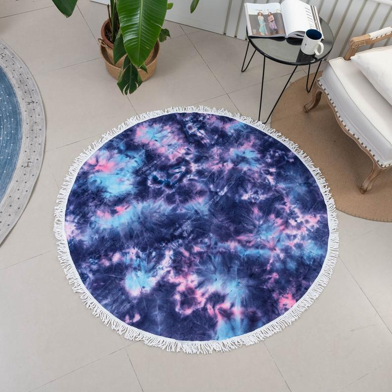 Tie Dye Yoga Mat Circle Towel Rug Diameter 150cm 59inch Galaxy Purple Blue