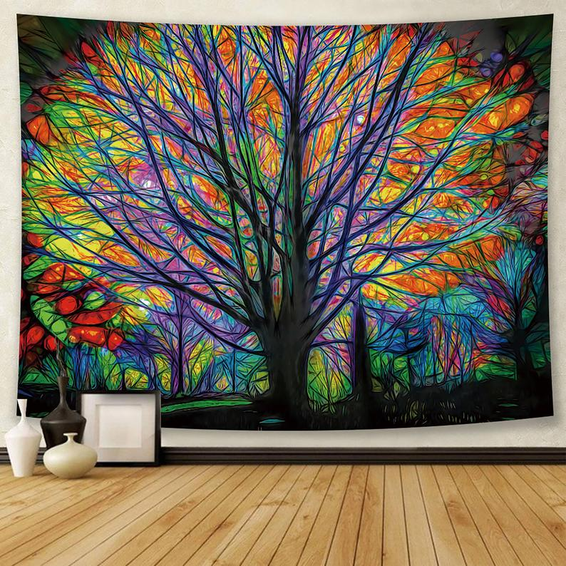 Psychedelic Tapestry, Tree Of Life Tapestry, Colorful Tapestry Wall Hanging, Tapestry In Large Size, Yoga Mat/ Meditation Mat/ Wall Decor