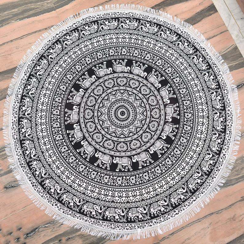 Indian Handmade Cotton Black Mandala Round Tapestry Blankets Throws Roundie Picnic Gypsy Tablecloth Beach Meditation Round Yoga Mat