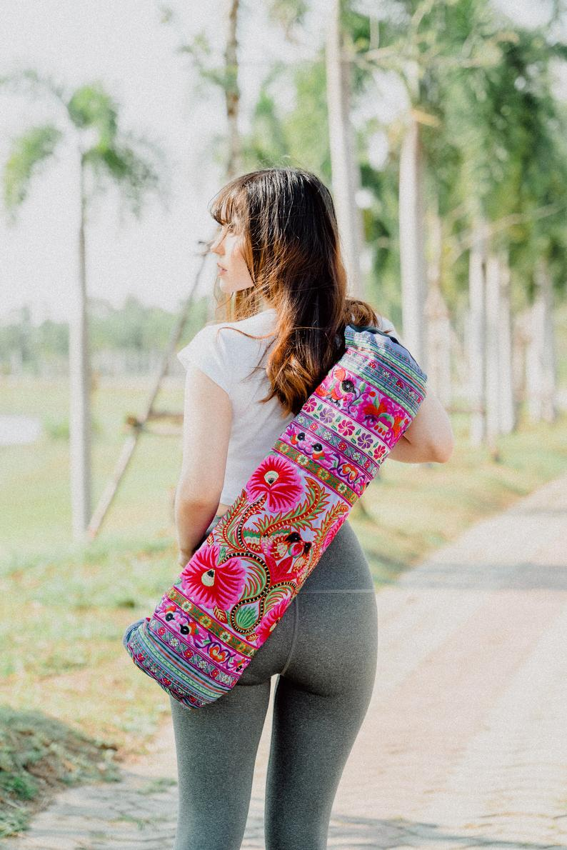 Handmade Yoga Mat Bag Hmong Embroidered Fair Trade in Purple, Floral Yoga Mat Bag from Thailand, Yoga Mat Bag for Women – BG316PURH