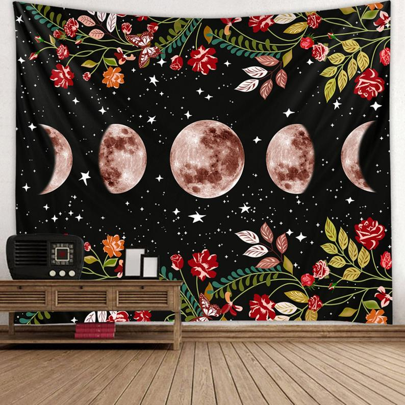 Moon Flower Art Tapestry For Holiday And Dormitory/living Room Beautiful Wall Hanging Beach Towel Wall Decoration Ideal Gift