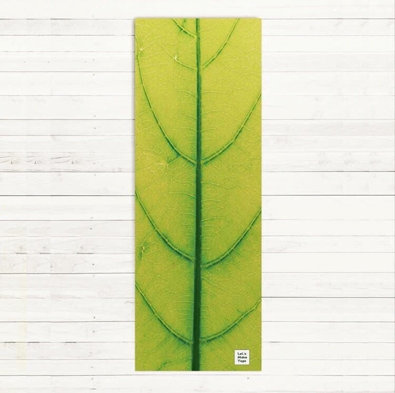 Natural design eco friendly yoga mat Frangipani Leaf