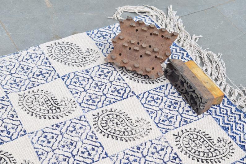 Block Print Area Dhurrie Rug Flat Weave Woven Tassel Boho Chic Indian Bohemian Accent Handmade Handwoven indian textiles handmade rugs