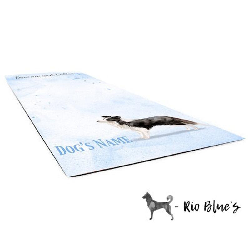Border Collie Yoga Mat that is a beautiful personalized yoga mat. This watercolor yoga mat is the perfect Border Collie Gift for a Dog Mom.