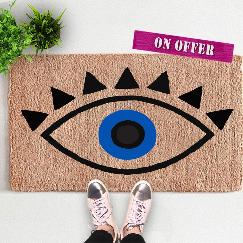 Evil Eye Doormat – Wedding Gifts Boho Doormat – Custom Welcome Mat – Housewarming Doormat – Spring Doormat – Protection Doormat Yoga Gift