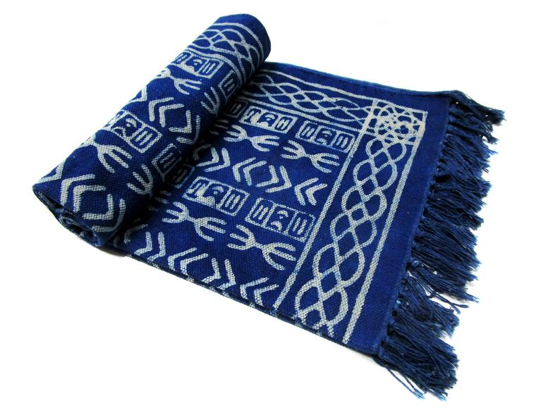 Blue & White Cotton Area Rug Indian Handmade Indoor Runner 3×5 Ft Bohemian Hand Block Dari Beach Fringe Yoga Mat Woven Throw Indigo Dari