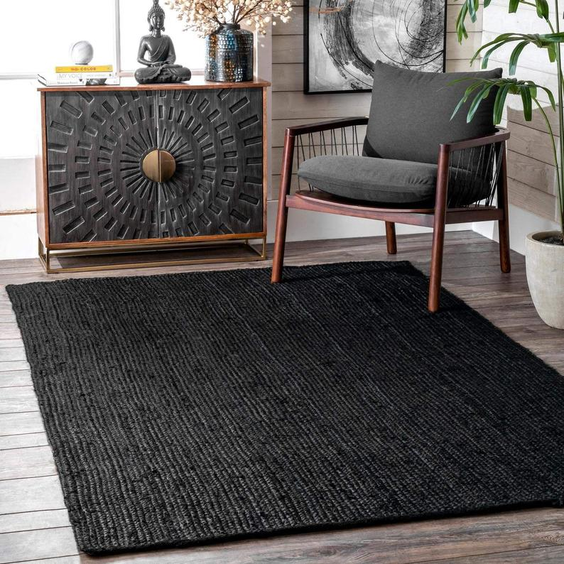 Beautiful Indian Handwoven Braided Bohemian Black color Pure Jute Area Rug Home Decor Floor Carpet in Square Size 4 X 4 Feet