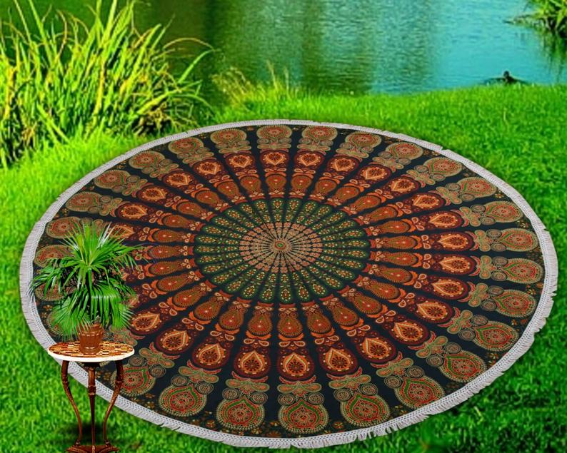 Round Mandala Tapestry Hippie Throw Indian Bohemian Beach Towel Yoga Mat Blanket