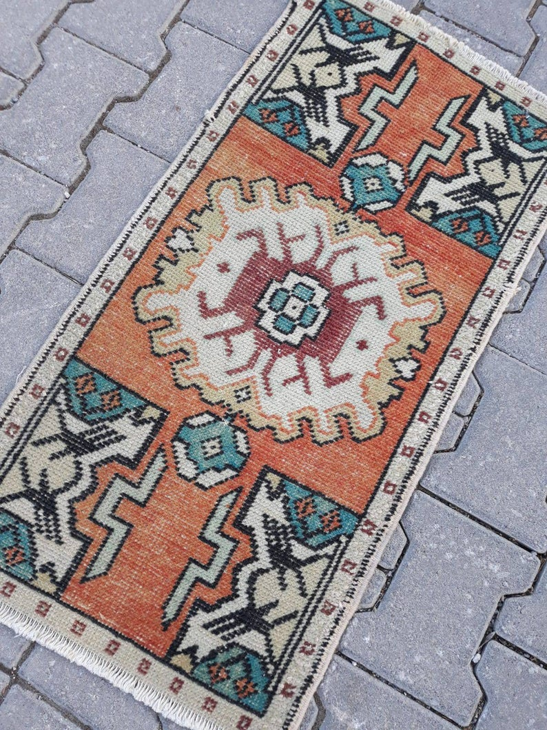 Home Living , Small Rug , Vintage Small Rug , Entryway Rug, Oushak Small Rug, Mini Rug, Pale Mat Rug, Turkish Small Rug, Entry Mat 3.1×1.5ft
