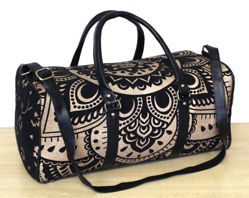 Indian Mandala Sport Cotton Duffle Bag With Adjustable Yoga Mat Bag Black Gold Travel Shoulder Bag Leather Handbag Floral Cotton Bags