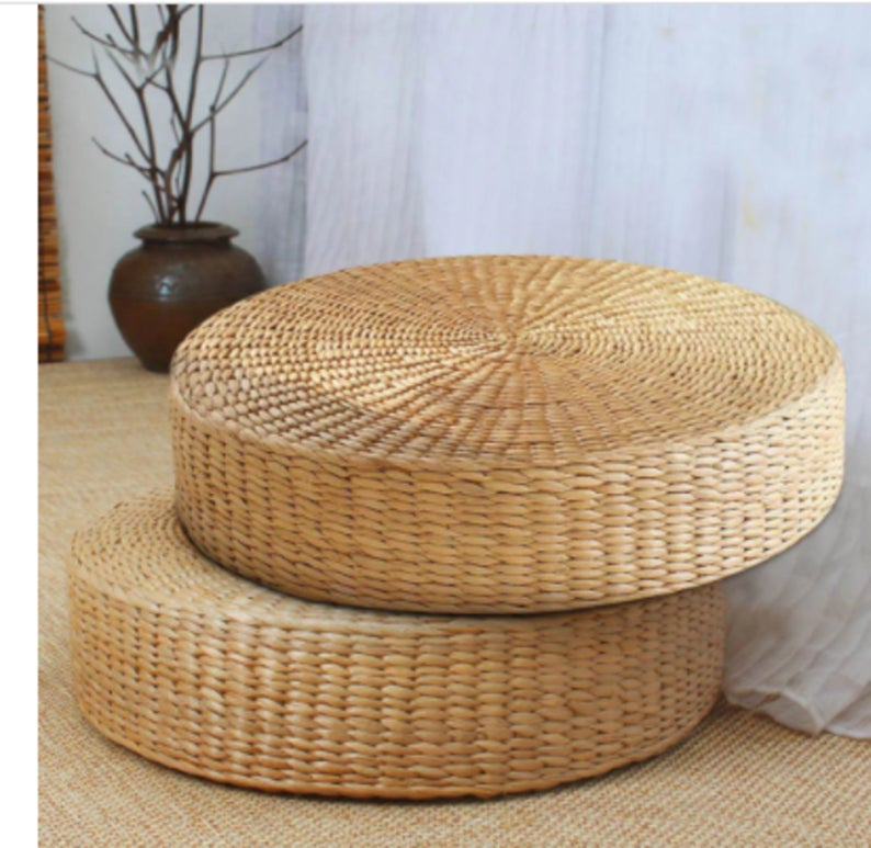 Floor Pillow Eco-Friendly Round Straw Cushion Hand Woven Tatami Floor Mat Yoga Tea Ceremony Meditation Pad 2