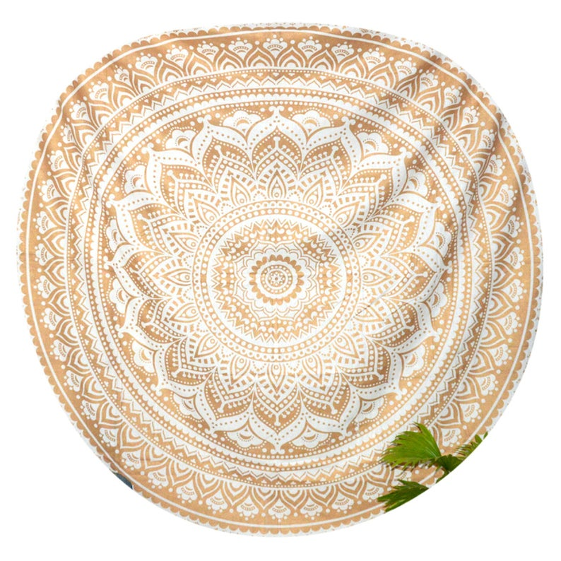Golden Ombre Mandala Round Table cloth Roundie Picnic Table Cover Hippy Gypsy Cotton Tablecloth Beach Meditation Round Yoga Mat Tapestry