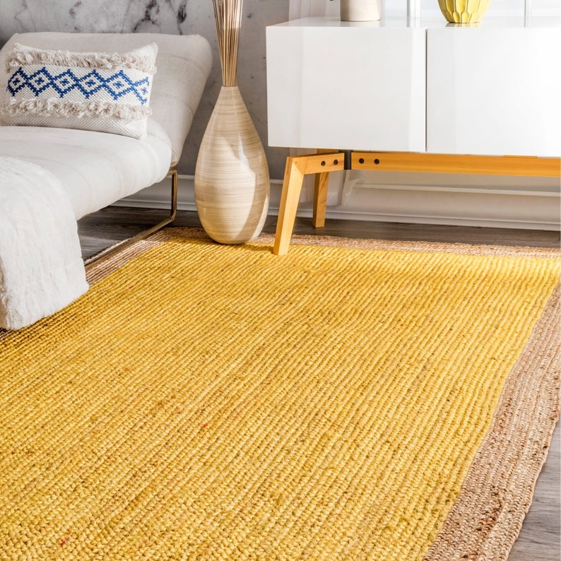 Indian Beautiful Handmade hand Braided Bohemian Yellow Color Pure Jute Runner Area Rug Home Decor Rugs Floor Carpet Size 5 Feet X 8 Feet