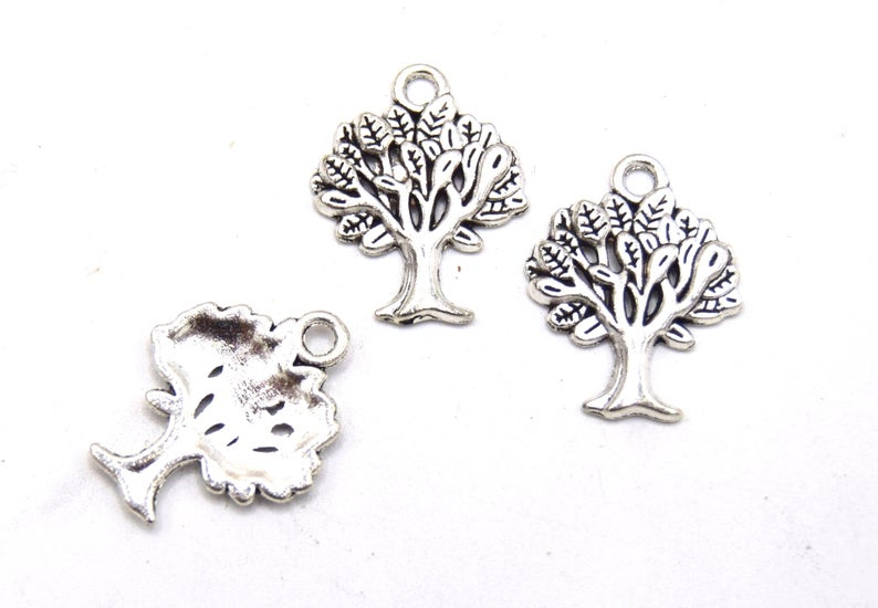 Tree of life charms silver charms B47 – pendants, tree charms, antique Tibetan Silver set of 10/20 units