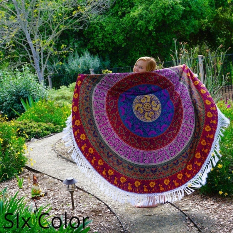 Bohemian Mandala Beach Throw, Cotton Roundie, Round Mandala Tapestry, Picnic Beach Towel Blanket, Meditation Yoga Mat , Towel Throw