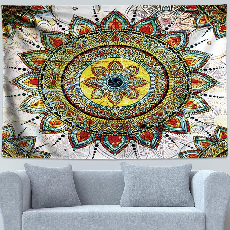 Chic Bohemian Fabric Mandala Floral Carpet Indian Wall Hanging Tapestry