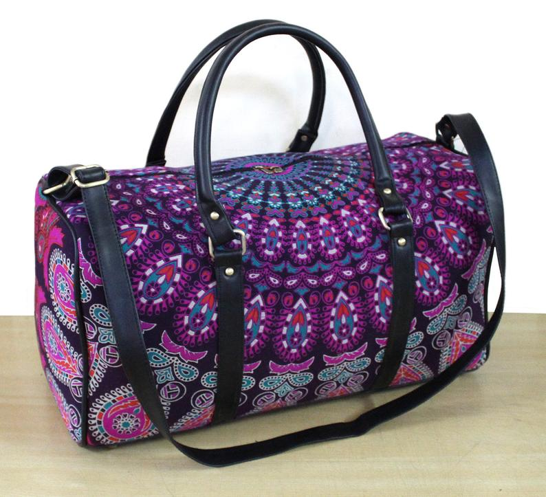 Handmade Soft Cotton New Unisex Travel Bag ,Gym Bag Adjustable Strap Handbag Mandala Bag And Sport Duffel Bag, Gym Bag Throw Traditional