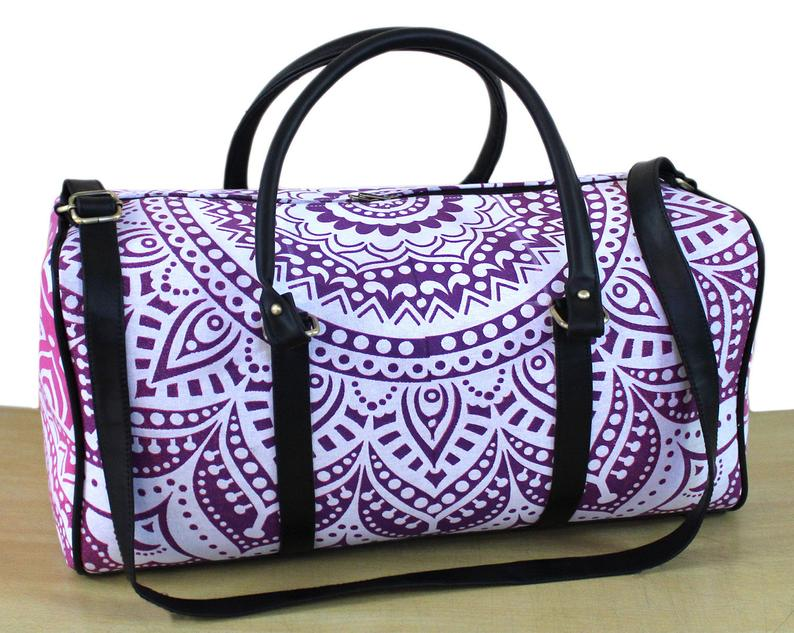 Traditional Pure Cotton Handmade New Print Bag Unisex Travel Bag Adjustable Strap Handbag Mandala Bag And Sport Duffel Bag, Gym Bag Throw
