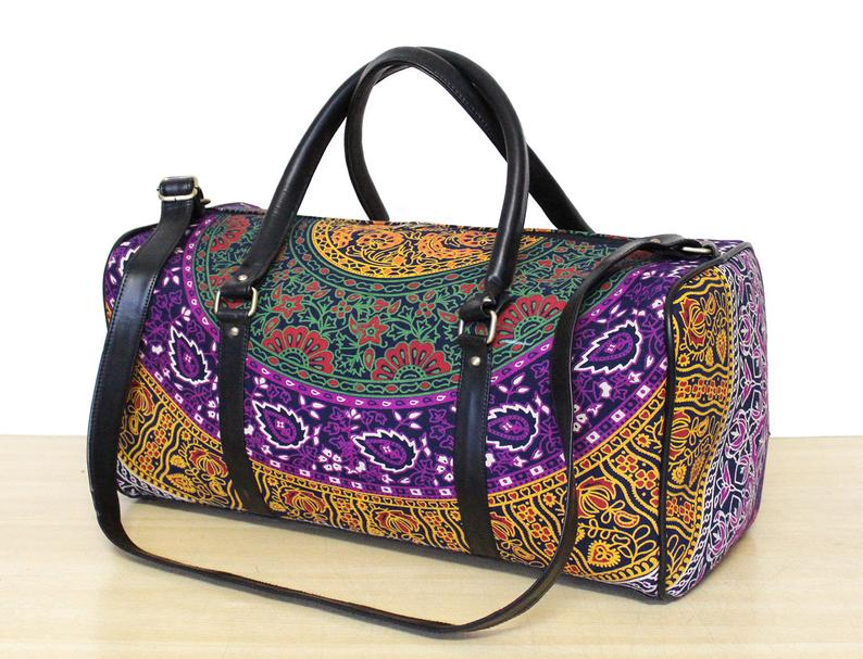 New Print Handmade Unisex Travel Bag ,Gym Bag Adjustable Strap Handbag Mandala Bag And Sport Duffel Bag, Gym Bag Throw Soft Cotton Handmade