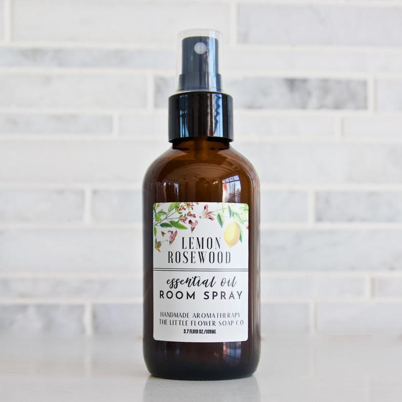 Lemon Rosewood Essential Oil Room Room Spray – 4oz bottle, bath and home decor, body spray, linen spray, aromatherapy