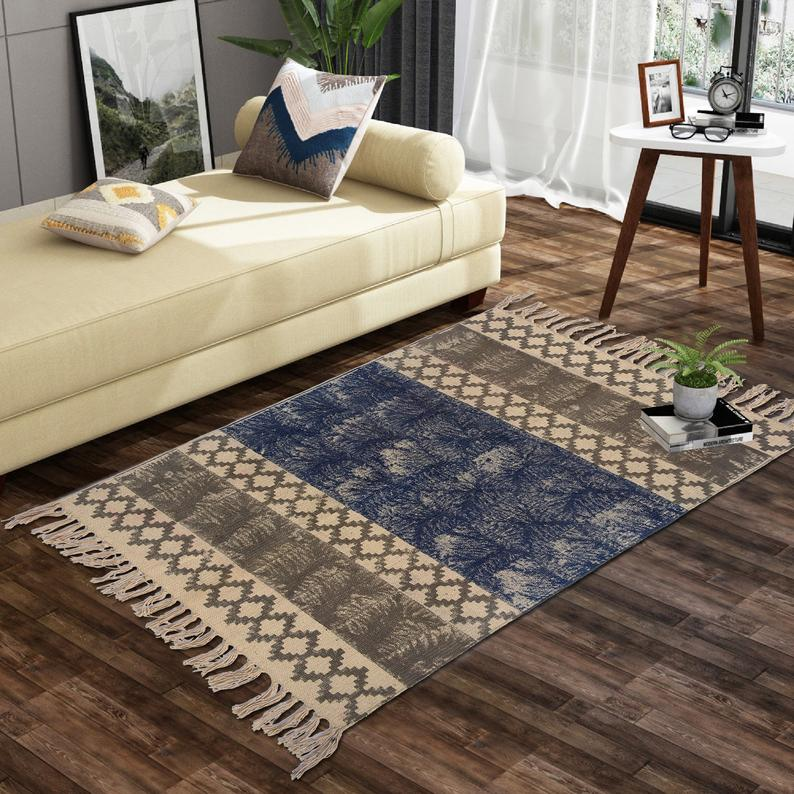2.5×4 Feet Hand block print cotton Rug,Yoga Mat