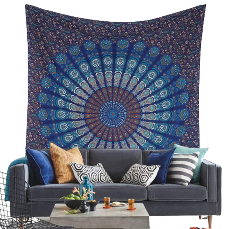 DREAMY DESIGN Mandala Indian Cotton Tapestry Wall Hanging,Bohemian Wall Art Dorm Decor,Boho Hippie Tapestries/Meditation Yoga Mat Rugs