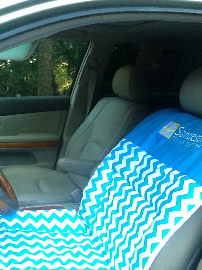 Tennis Gift, Trendy Chevron AUTO SEAT COVER for Tennis Player, Runner & Jogger Gift ,Fitness Fanatic, Yoga Mat, at Beach, after Beach in Car