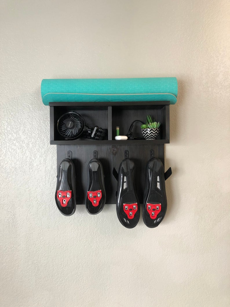Home Gym Organizer, Shoe Rack, Wall Storage, Exercise Shelf, Exercise Equipment Storage, Fitness Accessories Shelf, Indoor Cycling, Cycling