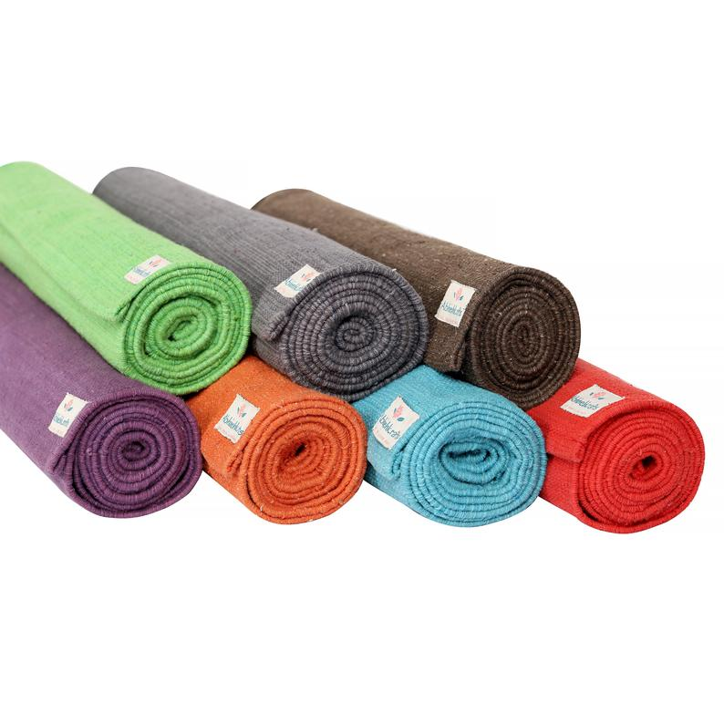 Yoga Mats – Organic Natural Cotton Mat-Yoga, Pilates, Fitness, and Meditation – (Handwoven, anti-skid & firm grip) – Color Options Available