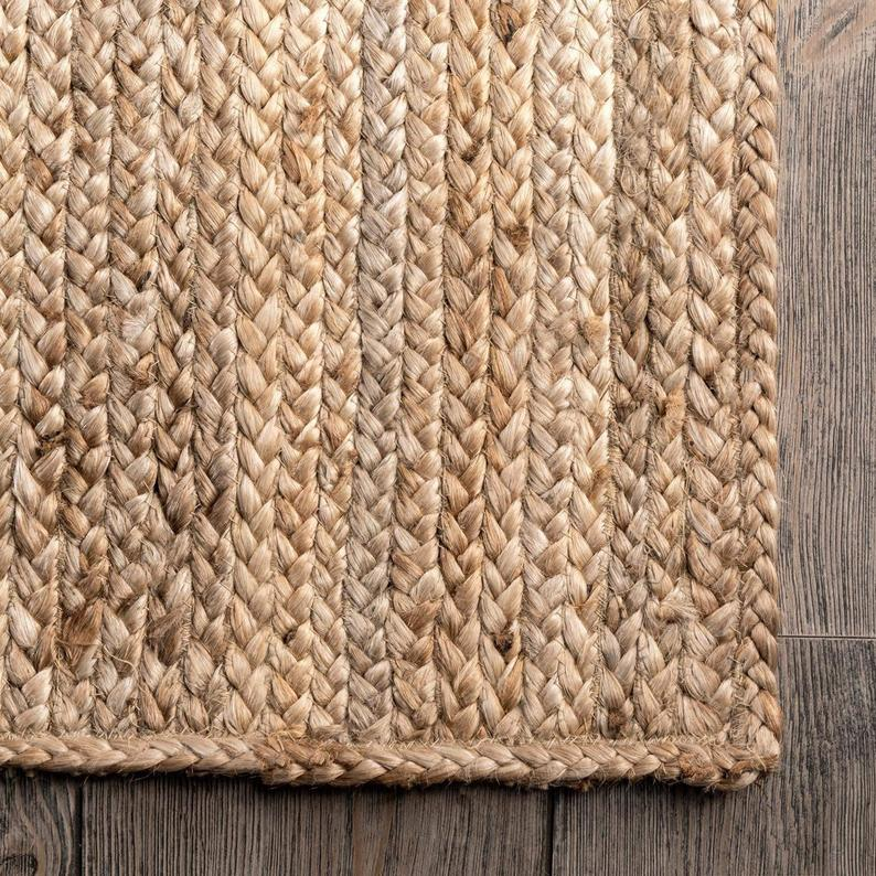 Natural Jute Braided Rug Handmade Handwoven Jute Area Rug Kilim Rug Hemp Rug Natural Sustainable Rug Indian Bohemian Rug Square Rug