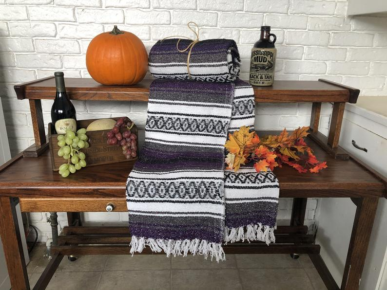 Vintage MEXICAN FALSA BLANKETS / Hand Woven Blankets can be used for yoga, festivals, beach Parties, vintage Mexican blankets