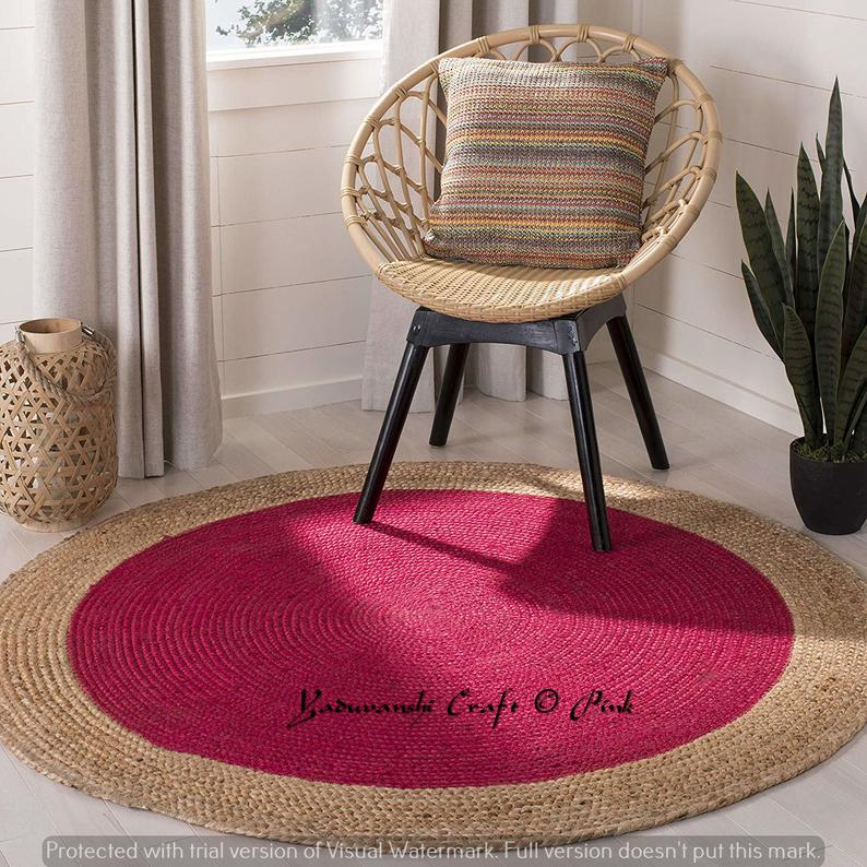 Natural Jute Rug Round Indian Braided Antic Item Floor Rug Handmade Jute Rug, , Indian Style Weave …