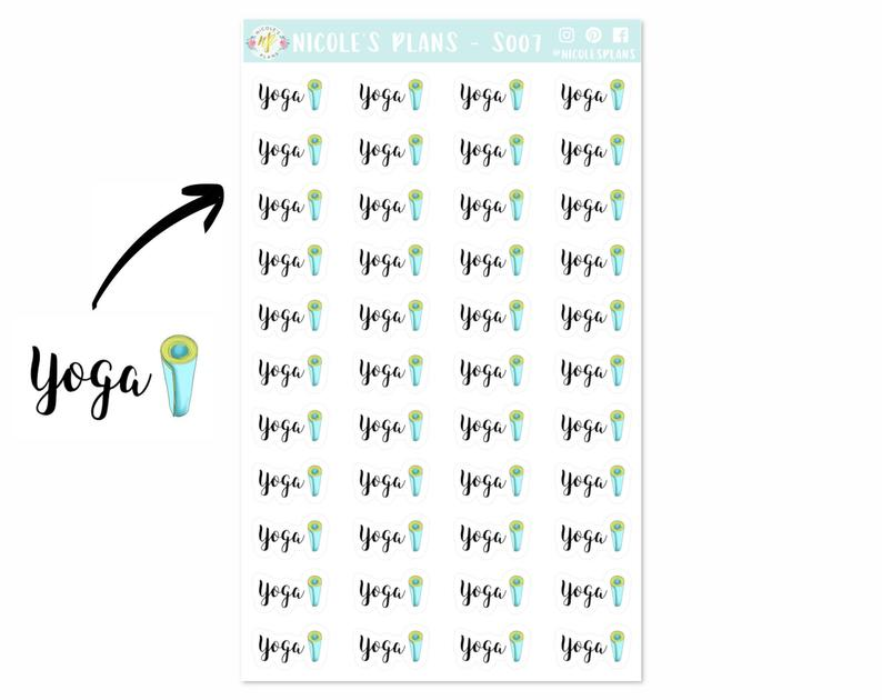 Yoga Fitness Planner Stickers – S007 • Workout Functional Stickers • Health and Fitness Stickers for Planners and Bullet Journals