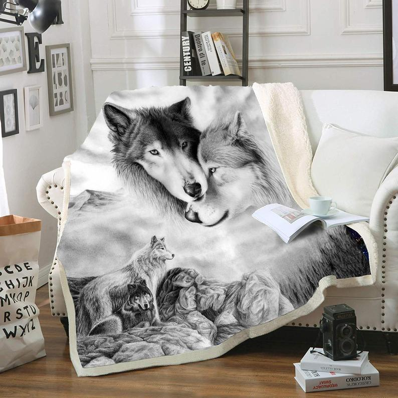 Gray Wolf Blanket Comfort Warmth Soft Cozy Air Conditioning Machine Wash Black and White Rose Skull Sherpa Fleece Blanket (Throw 60″x80″)