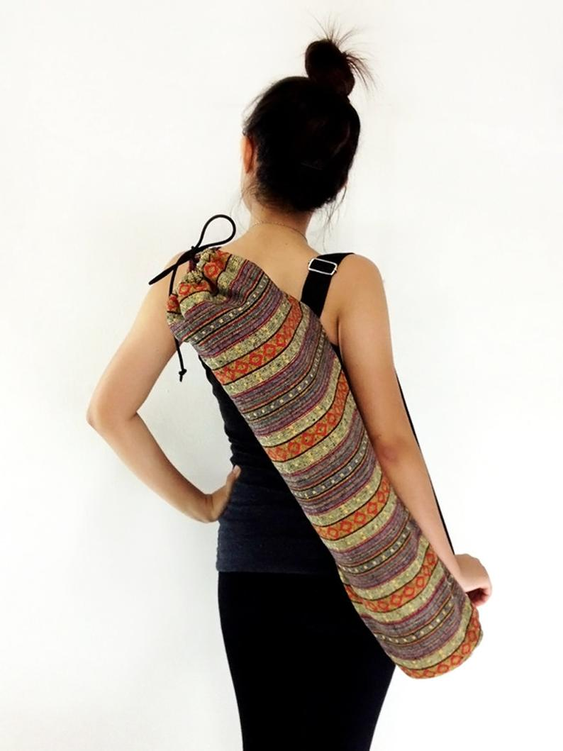 Handmade Yoga Mat Bag Yoga Bag Sports Bags Tote Yoga Sling bag Pilates Bag Pilates Mat Bag Woven Yoga Bag Women bag Woven Cotton bag (WF6)