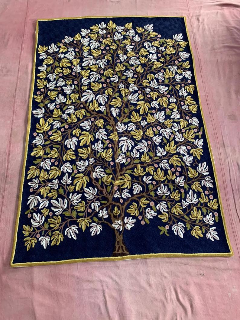 Cashmere Handmade Rug Cashmere Carpet Woolen Rug Floor Mat Area Rug Rag Hand Chain Stitched Rug Indian Rug Oriental Rug Kilim Dhurrie Rug