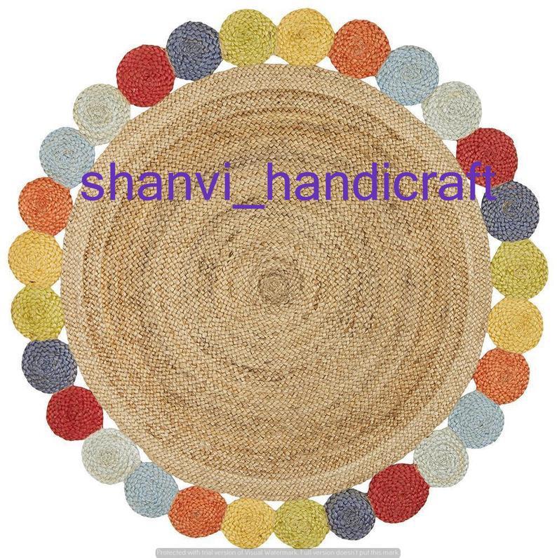 Beautiful Floor Rug Round Indian Braided Handmade Jute Rug Natural Jute Rag Rug 3×3 Feet Floor Rug Indian Handwoven Ribbed Solid Area Rugs