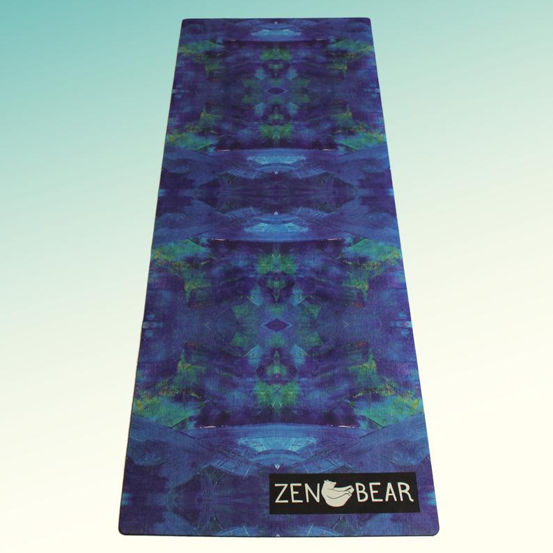 LUCID – Zen Bear Non Slip Yoga Mat, Eco-Friendly, Natural Rubber Yoga Mat, Pilates Mat, Fitness Mat, Blue Teal Abstract Lucid Print