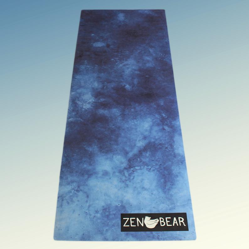 TITAN – Zen Bear Non Slip Yoga Mat, Eco-Friendly, Natural Rubber Yoga PilatesFitness Mat, Art Blue Green Acid Wash Abstract Print