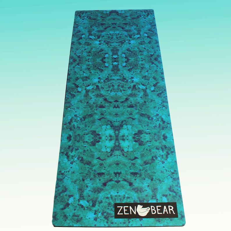 TERRA – Zen Bear Non Slip Yoga Mat, Eco-Friendly, Natural Rubber Yoga Mat, Pilates Mat, Fitness Mat, Green Blue Aqua Earth Art Deco Print