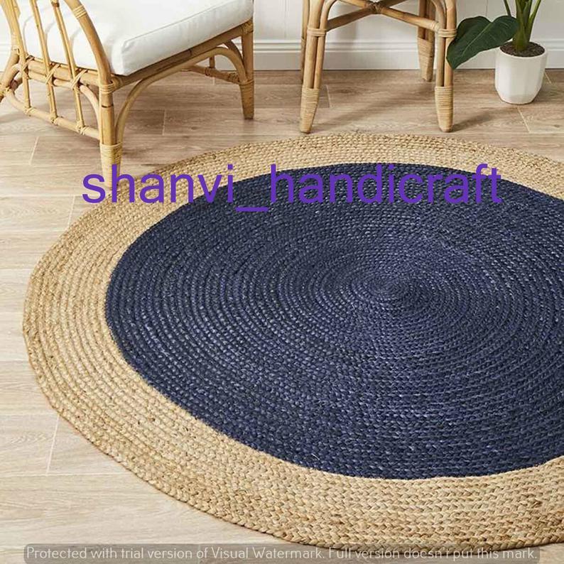 Natural Jute Handmade Jute Rug Round Rug Indian Braided Rag Rug Round Floor Rug Indian Handwoven Ribbed Solid Area Rugs, Beautiful Floor Rug