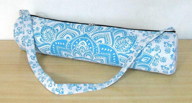 Fitness Yoga Bag, Cotton Yoga Mat Bag, Sports Bag, Excercise Bag, Gym Carry Bag, Yoga Mat Bag, Indian Handmade Bag, Mandala Yoga Bag New Art