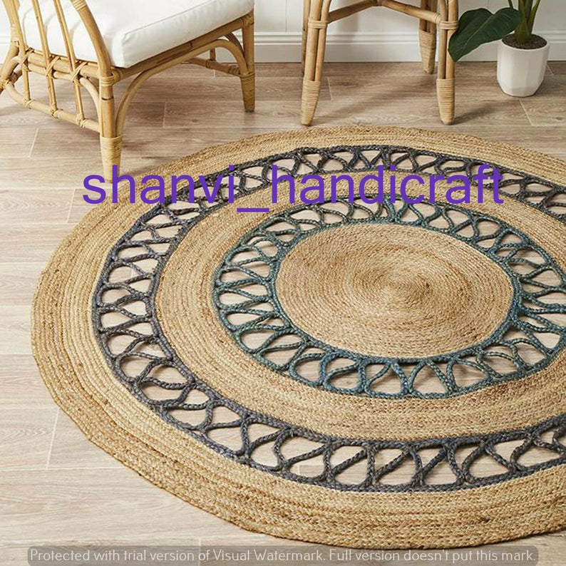 Beautiful Floor Rug Indian Braided Rag Rug Round Handmade Jute Rug 5×5 Feet Jute Round Rug Floor Rug Indian Handwoven Ribbed Solid Area Rugs