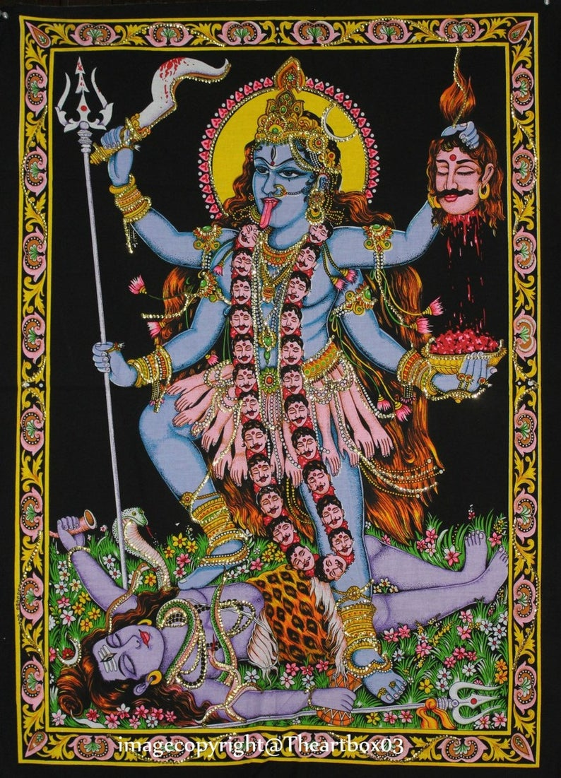 Luxury Hindu Goddess Maa Kali Wall Poster Tapestry Indian Hippie Bedspread Wall Decor 30 x 40 Inch Approx.