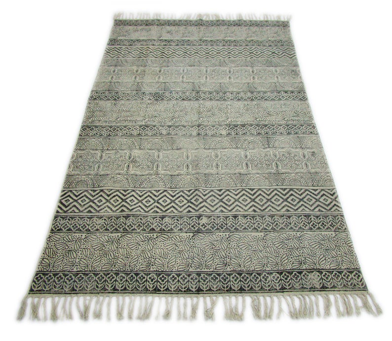 4×6 Feet 100% Cotton Printed Area Rug Indian Handmade Beach Rug Woven Hand Block Print Runner Indoor Home Décor Carpet Fringe Dari Rug