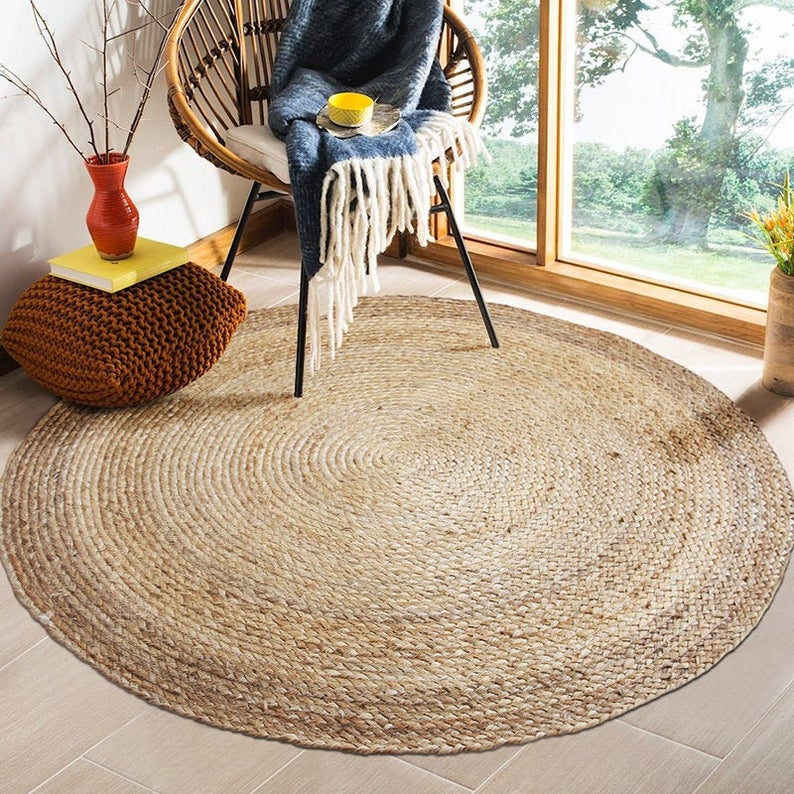 CUSTOM round brown woven jute rug straw floor mats rugs handmade round bedroom area mat straw tatami mat  custom yoga mat Christmas gifts