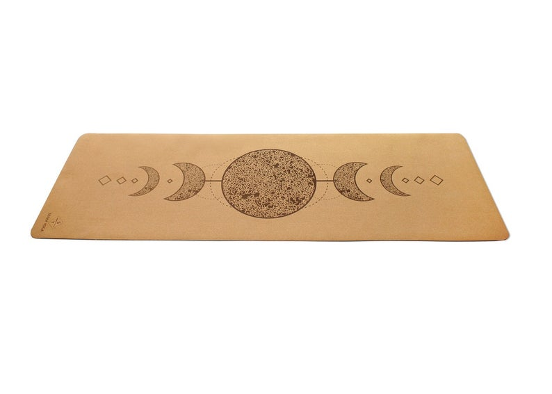 NATURAL CORK yoga mat- 100% Natural Rubber bottom, Cork top – Moon Printed Yoga Mat